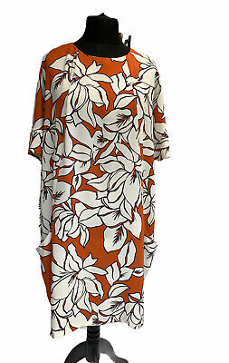 £22 • Buy ROMAN Dress Size 20 Orange Russet Cream Floral Shift Style Casual Business Party