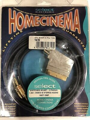 £5 • Buy Oxygen Free Cable - Switched SCART - 3 Phono 1.5m - Video & Stereo Audio 18271