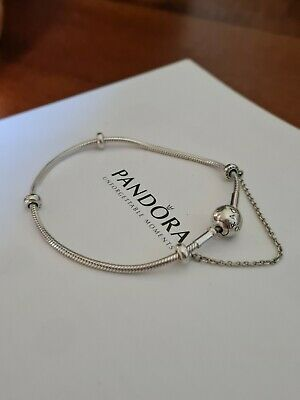 AU47.50 • Buy Pandora Snake Chain Bracelet 17cm With My Spacer And My Safety Chain