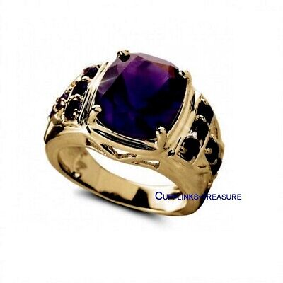 £70 • Buy Natural Amethyst & CZ Gemstones With 925 Sterling Silver Gold Plated Men's Ring