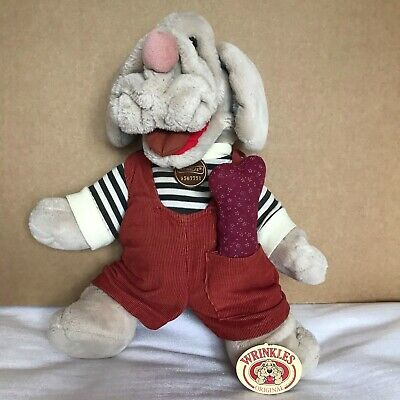£39.99 • Buy Wrinkles The Dog 18  Hand Puppet Vintage 1981 Ganz Bros Plush Overalls With Bone
