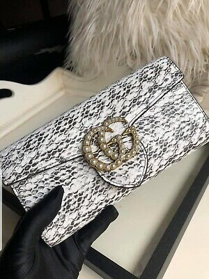 AU600 • Buy Gucci Pearly GG Marmont Continental Wallet Python Print White Grey