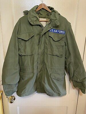 $55 • Buy Vintage US Air Force Military M-65 Field Jacket Size Med Utility Olive Green.