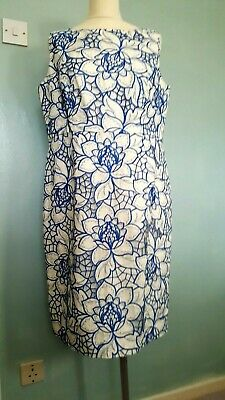 £14.99 • Buy KALIKO Ladies Lace Dress UK 16 Fitted White Blue Large Flowers Fully Lined