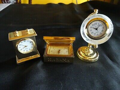 £5.79 • Buy Lot 3 Miniature Clocks Mantle * Cigar Box * Frosted Etched Glass Globe