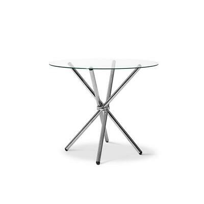 AU119.95 • Buy Artiss Round Dining Table 4 Seater 90cm Tempered Glass Clear Chrome Steel Legs C