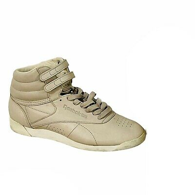 £20.04 • Buy Reebok Classic Freestyle High Top Cream Ivory Strap Sneakers Vintage Style 8