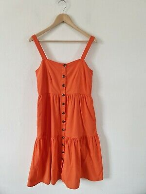 £12.99 • Buy M&s Cotton Tiered Button Front Midi Smock Dress In Mango Size 10