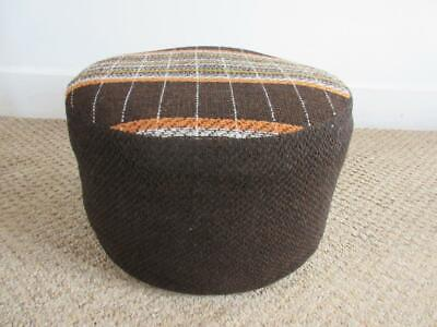£50 • Buy Vintage Retro 60's/70's Sherborne Brown Fabric Foot Stool/ Pouffe/ Foot Rest