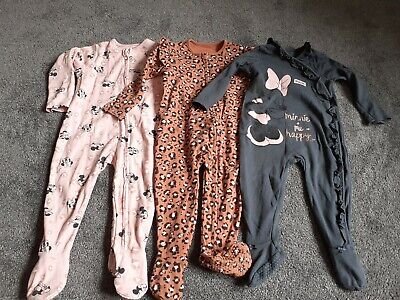 £3 • Buy Baby Girls Disney Minnie Mouse Sleepsuits Set 9-12 Months