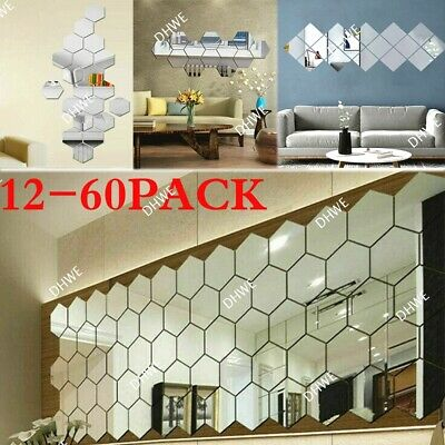 £4.99 • Buy 60X 3D Square Mirror Tiles Wall Stickers Self Adhesive Decor Stick On Art Home