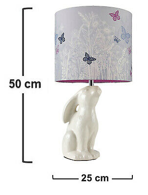 £25.90 • Buy Designer Table Lamp Sculpture Rabbit Bedside With Pretty Butterfly Shade
