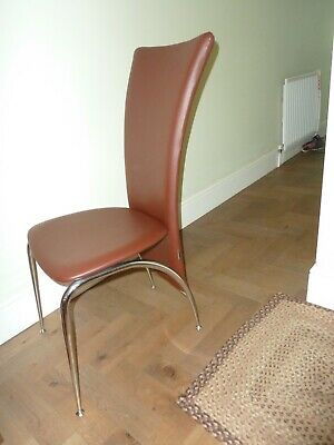 £45 • Buy Set Of  6 Dining Chairs Padded Seat High Back Chrome Legs Brown Faux Leather