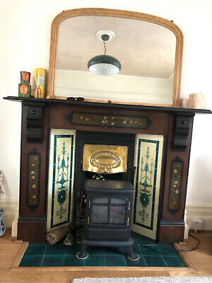 £150 • Buy Stunning Victorian Slate Fireplace - Original Hand Painted Finish SURROUND ONLY
