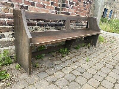 £190 • Buy Gorgeous 7ft Edwardian Church Pew Early 1900s Pitch Pine Free Standing Carved
