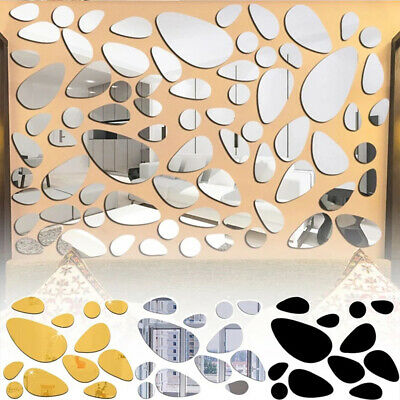 £3.59 • Buy 20Pcs 3D Mirror Pebble Wall Stickers Self Adhesive Bedroom Art Decal Home Decor