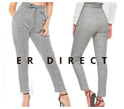 £14.99 • Buy Ladies Dogtooth Print Trousers Tie Waist Check Paper Bag Style Pant