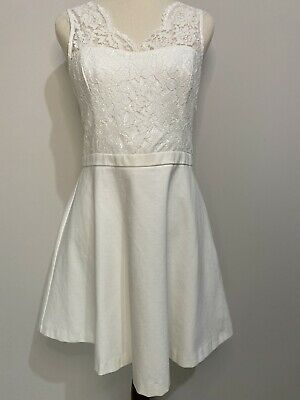 AU40 • Buy FOREVER NEW White Mya Lace Bodice Skater A-Line Formal Party Dress Size 12 BNWT