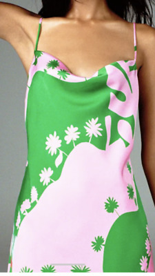 £35 • Buy Zara Green Pink Printed Satin Dress Size S New SOLD OUT