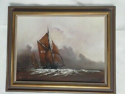 £15 • Buy Original Oil Painting On Canvas Of Yacht On Sea FRAMED By Furse 50x40cm Approx