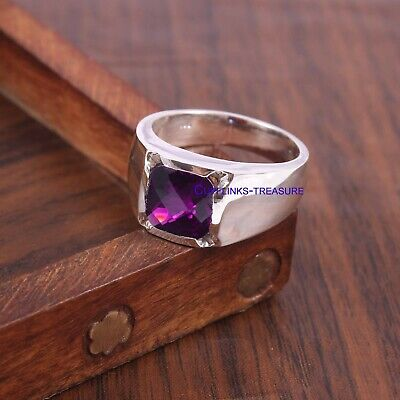 £70 • Buy Natural Amethyst Gemstone With 925 Sterling Silver Ring For Men's