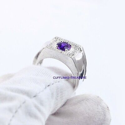 £70 • Buy Natural Amethyst & CZ Gemstones With 925 Sterling Silver Ring For Men's