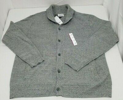 $19.99 • Buy Men's Sweater Button Down Knitted Shawl Cardigan Grey XXL 2XL By Goodfellow & Co