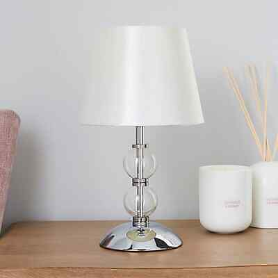 £21.49 • Buy New Elegant  Yet Gorgeous Glass Ball Table Lamp With A Satin Lampshade