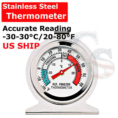 $4.99 • Buy Refrigerator Freezer Thermometer Fridge DIAL Type Stainless Steel Hang Stand