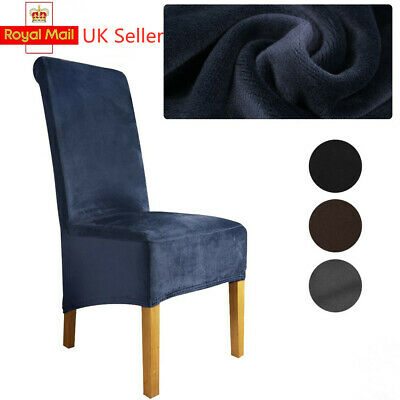 £6.35 • Buy Velvet Dining Chair Covers Slip Stretch Wedding Banquet Party Home Removable UK