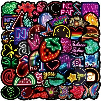 £6.99 • Buy 100PCS Neon Sign Stickers Bomb Graffiti Decal Pack Laptop Car Luggage Skateboard