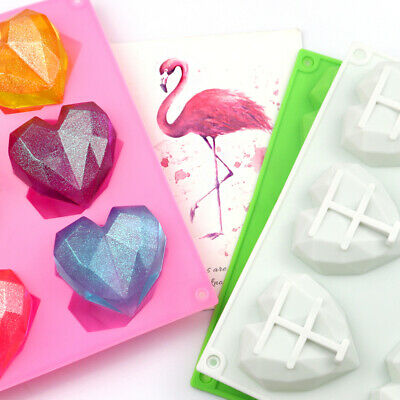 £2.99 • Buy 6 Geo 3D Hearts Silicone Mould Chocolate Jelly Ice Wax Melts Heart Baking Mold