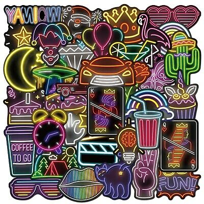£5.99 • Buy 80PCS Neon Sign Stickers Bomb Graffiti Decal Pack Laptop Car Luggage Skateboard