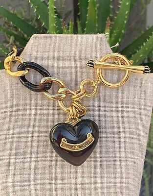 £36.35 • Buy JUICY COUTURE Bracelet Root-beer Colored Puffy HEART Charm And Gold Tone Rare