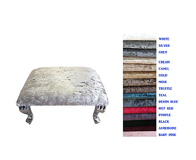 £35.95 • Buy Square Footstool Crushed Velvet Foam Padding Queen Anne Style Legs 15 Colours