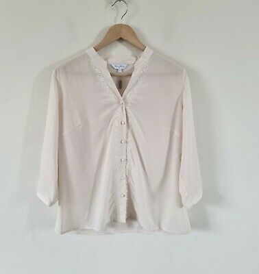 £9.99 • Buy Penny Plain Sheer Embroidered Blouse Top Size 16