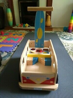 £19 • Buy Wooden Push Along Bus Trolley Walker Toy With Wooden Blocks Montessori