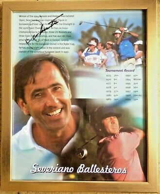 £109 • Buy Signed Seve Ballesteros Black Ink Ryder Cup Autograph OPEN Tickets  Tiger Rory