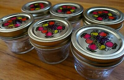 $24.99 • Buy 6 Vintage BALL 4 Oz Quilted Crystal Jelly Canning Jars RARE Fruit Colored Lids