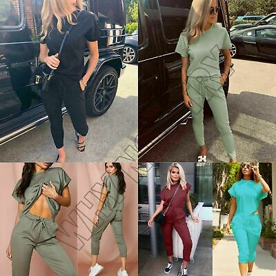 £12.95 • Buy Women's Ladies Short Sleeve Boxy Lounge Wear Tracksuit Set Casual Comfy 2 Pieces