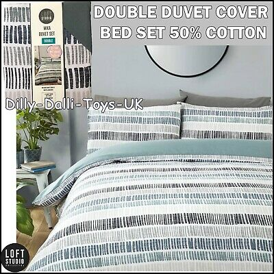 £12.99 • Buy Mika Stripe Blue Grey Black Double Duvet Cover Bed Set Contemporary Pattern NEW
