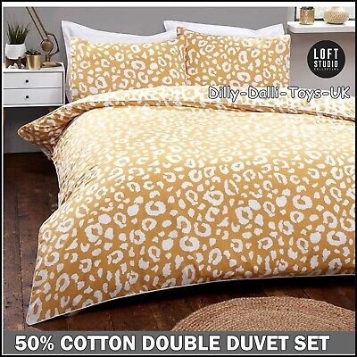 £12.99 • Buy Yellow Ochre Mustard & White Leopard Print Double Duvet Cover Bed Set Piped Edge