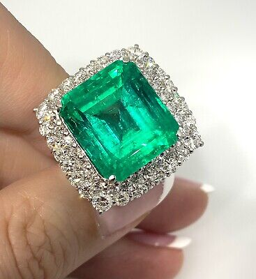 £54539.50 • Buy 18.91 Ct Colombian Emerald Ring GIA Certificate W/Diamonds In Platinum-HM2251A7