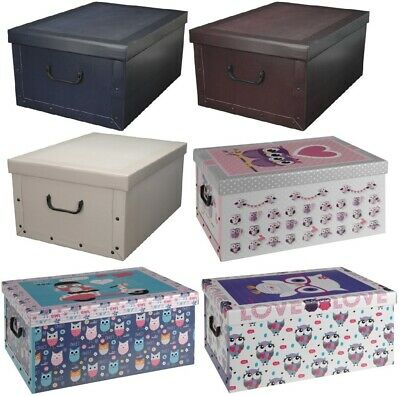 £9.99 • Buy Collapsible Cardboard Storage Box With Lid Handle Decorative Underbed Container