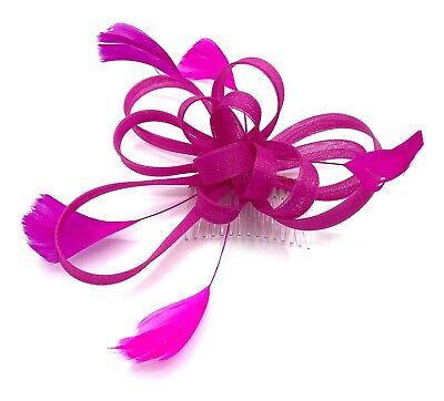 £6.99 • Buy Hot Pink Feather Comb Fascinator Ladies Day Weddings Races Ascot
