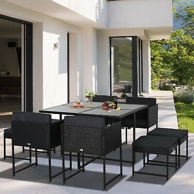 £364.99 • Buy Rattan Patio Furniture Set 8 Seater Conversation Dining Table Chairs Garden Deck