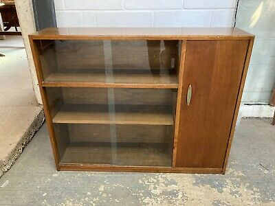 £69.99 • Buy Vintage Mid Century Brown Wood Display Cabinet Bookcase With Glass Sliding Doors