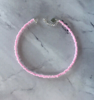 £3.10 • Buy Pink Pearl Choker Necklace Seed Beads Summer