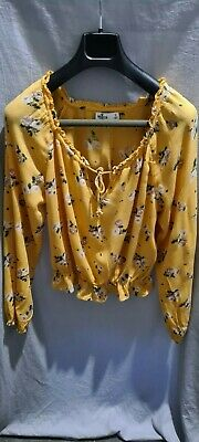 AU10 • Buy Women's Hollister Yellow Floral Long Sleeve Peasant Blouse Size S
