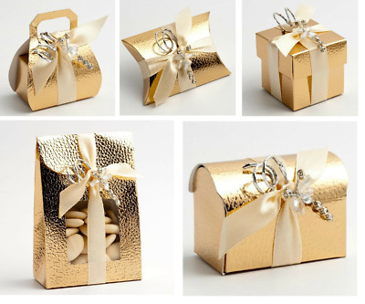 £1.75 • Buy Pelle Gold Wedding Favour Boxes Christmas Birthday Gift Box Only Self Assembly